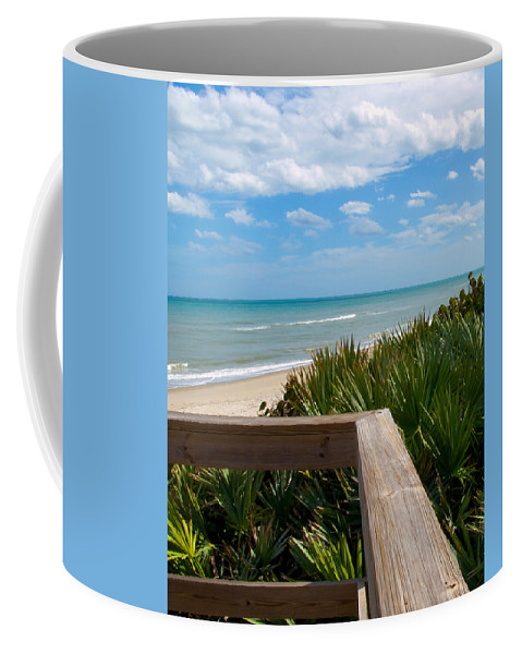 Beach; February; Florida; Warm; Warmth; Temperature; Degrees; Weather; Sun; Melbourne; Sand; Shore; Coffee Mug featuring the photograph Melbourne Beach In Florida by Allan Hughes