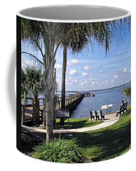 Melbourne; Beach; Pier; Florida; Peaceful; Peace; Indian; River; South; Scene; Scenery; South; South Coffee Mug featuring the photograph Melbourne Beach Pier In Florida by Allan Hughes
