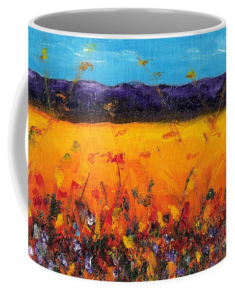 Meadows Coffee Mug featuring the painting Melissa's Meadow by Frances Marino