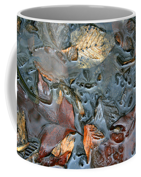 Nature Fall Leaf Leaves Colorful Water Melt Melted Reflect Reflection Outdoors Forest Woods Light Coffee Mug featuring the photograph Melted Colors by Andrei Shliakhau