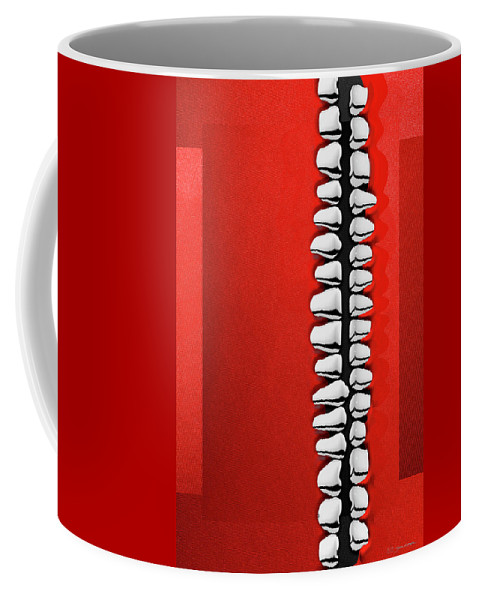 'memento Mori' Collection By Serge Averbukh Coffee Mug featuring the digital art Memento Mori - Silver Human Teeth Over Red And Black Canvas by Serge Averbukh