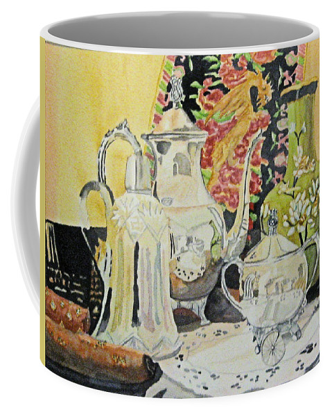 Silver Coffee Mug featuring the painting Memories In Reflection I by Gerald Carpenter