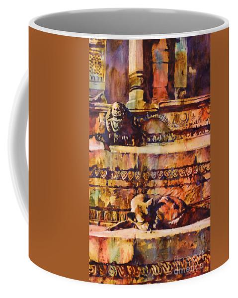 Art Prints Coffee Mug featuring the painting Memories Of Happier Times- Nepal by Ryan Fox
