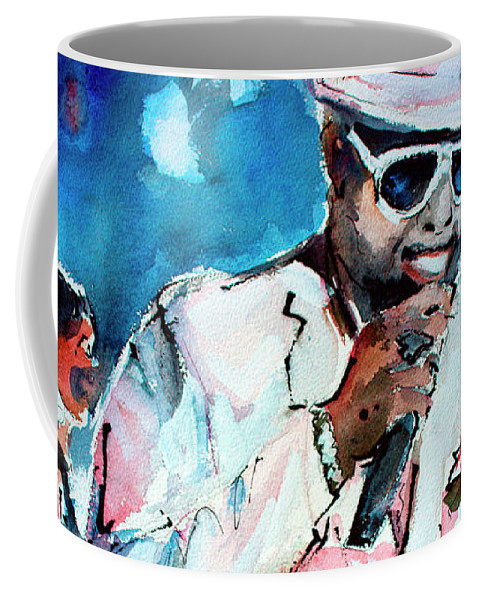 William Bell Coffee Mug featuring the painting Memphis Music Legend William Bell on Stage 1 by Ginette Callaway