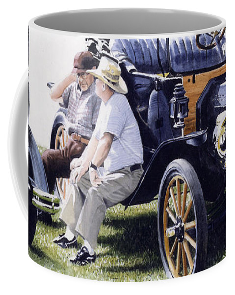 Antique Cars Coffee Mug featuring the painting Men And Their Toys by Denny Bond