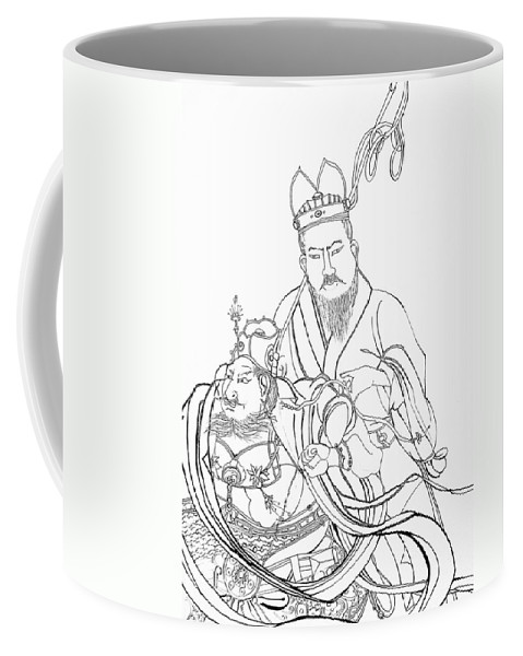 Drawing Coffee Mug featuring the drawing Men Of The East by Michelle Calkins