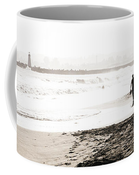 Men Coffee Mug featuring the photograph Men On Beach by Marilyn Hunt