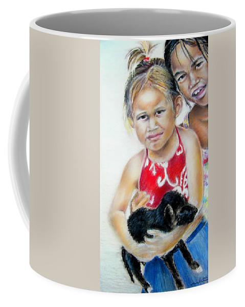 Tahiti Children Portraits Coffee Mug featuring the painting Menage A Trois by Miki De Goodaboom