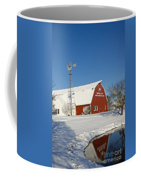 Menno-hof Coffee Mug featuring the photograph Menno Hof In The Snow 2 by David Arment