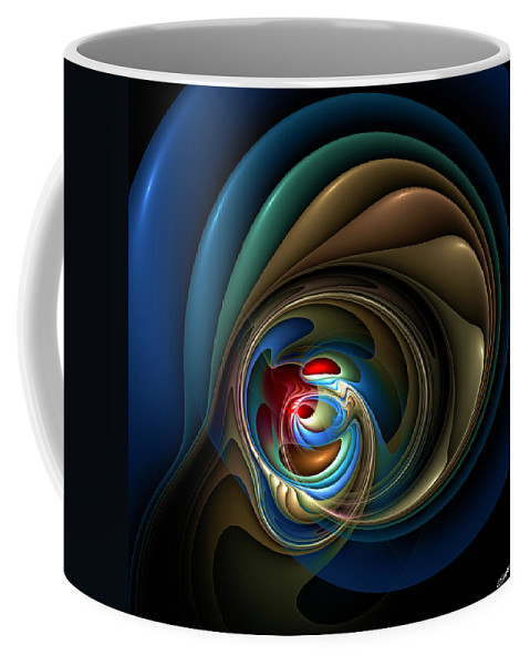 Abstract Coffee Mug featuring the digital art Mental Squirrel Cage by Casey Kotas