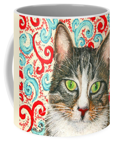 Cat Coffee Mug featuring the painting Meow Please... by Minaz Jantz