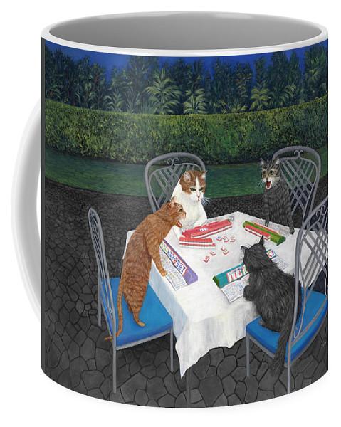 Cat Art Coffee Mug featuring the painting Meowjongg - Cats playing Mahjongg by Karen Zuk Rosenblatt