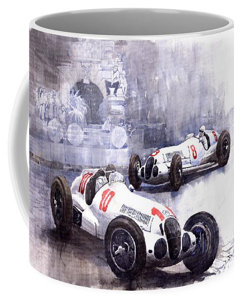 Watercolour Coffee Mug featuring the painting Mercedes Benz W 125 1938 by Yuriy Shevchuk