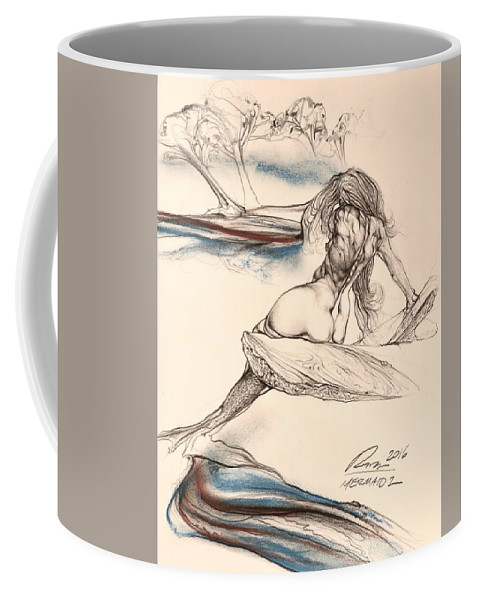 Watercolor Coffee Mug featuring the drawing Mermaid 2 by Thomas Rupich