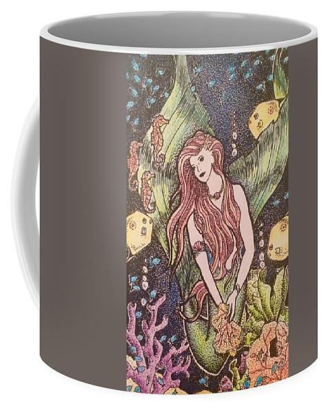 Mermaid Coffee Mug featuring the painting Mermaid Magic by Nancy M Garrett