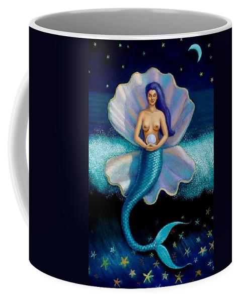 Mermaid Coffee Mug featuring the painting Mermaid Art- Mermaid's Pearl by Sue Halstenberg