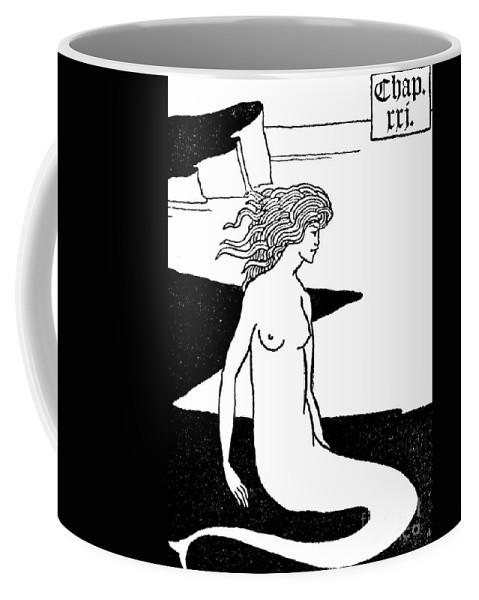 Siren Coffee Mug featuring the drawing Mermaid Illustration From Le Morte D'arthur By Thomas Malory by Aubrey Beardsley