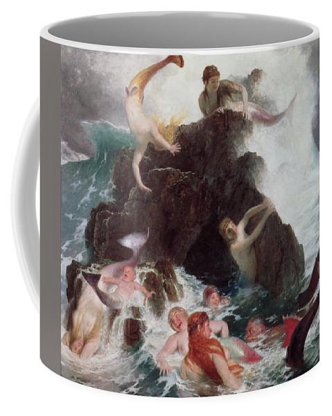 Mermaid; Sirens; Siren; Water Baby; Frolicking; Fun; Ocean; Rocks; Leaping; Jumping Coffee Mug featuring the painting Mermaids At Play by Arnold Bocklin