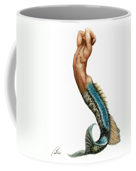 Merman Coffee Mug featuring the painting Merman by Bruce Lennon