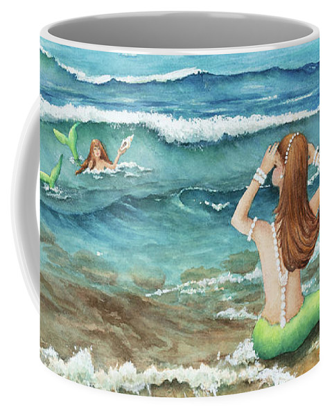 Mermomma Of Two Coffee Mug featuring the painting Mermomma Of Two by Michelle Constantine