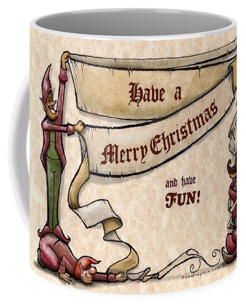 Christmas Coffee Mug featuring the digital art Merry Christmas Elves by Kevin Middleton