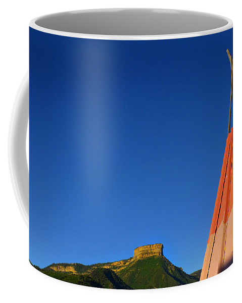 Mesa Teepee Coffee Mug featuring the photograph Mesa Teepee by Skip Hunt
