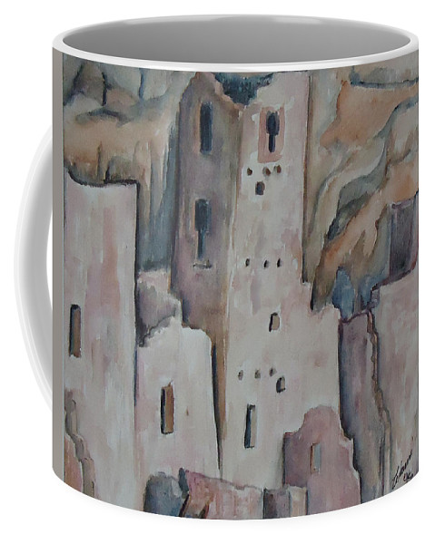 Mesa Verde In Colorado. Indian Coffee Mug featuring the painting Mesa Verde In Pink by Charme Curtin