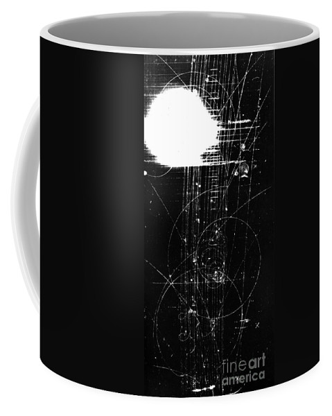 Science Coffee Mug featuring the photograph Mesons, Bubble Chamber Event by Science Source