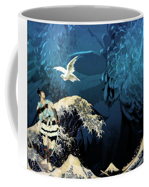 Japanese Prints Coffee Mug featuring the digital art Messenger by Laura Botsford