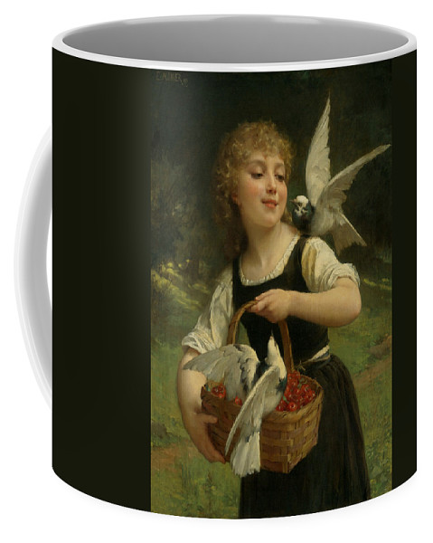 French Art Coffee Mug featuring the painting Messenger Of Love by Emile Munier
