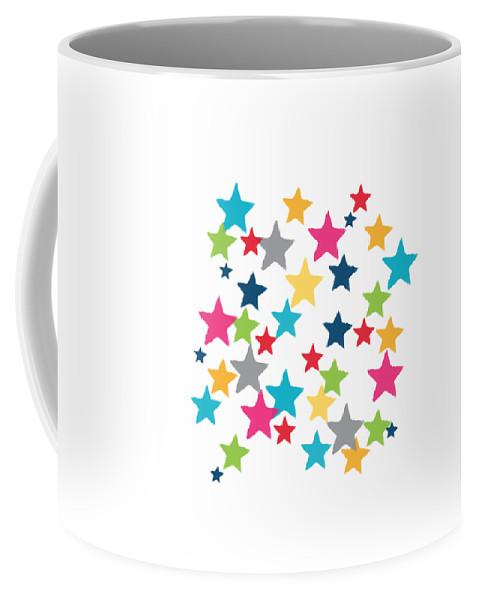 Stars Coffee Mug featuring the painting Messy Stars- Shirt by Linda Woods