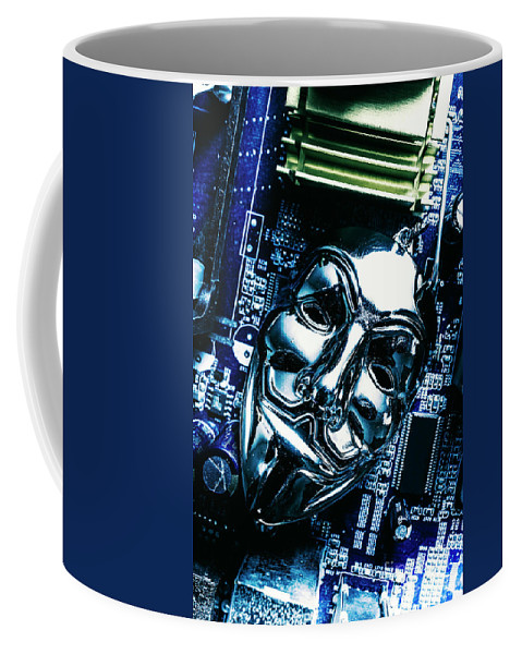 Cyber Coffee Mug featuring the photograph Metal Anonymous Mask On Motherboard by Jorgo Photography - Wall Art Gallery