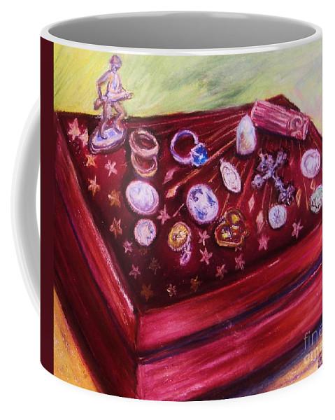 Metal Coffee Mug featuring the pastel Metal Treasures by Emily Michaud