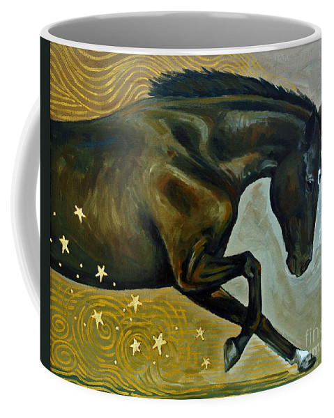 Acrylic Coffee Mug featuring the painting Meteor Shower by Suzanne McKee
