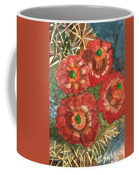 Orange Coffee Mug featuring the painting Mexican Pincushion by Eric Samuelson