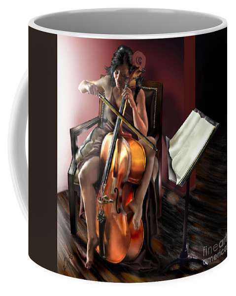 Cello Coffee Mug featuring the painting Mi Chica - Solace In The Unseen by Reggie Duffie