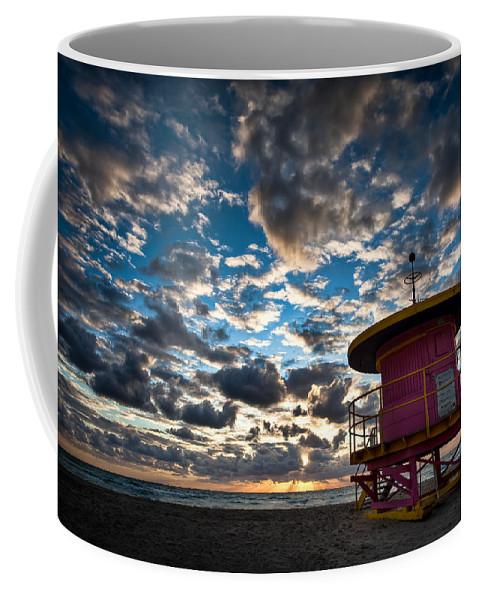 Miami Coffee Mug featuring the photograph Miami Dawn by Dave Bowman