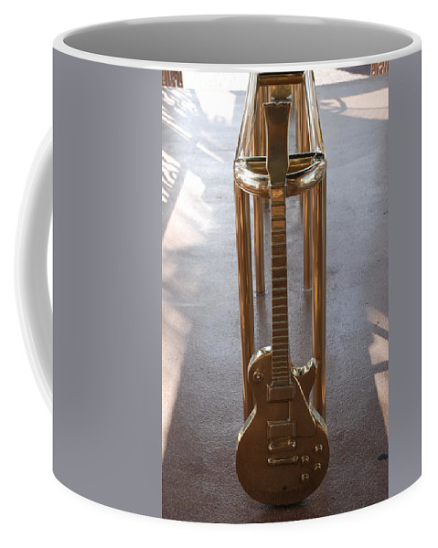 Brass Coffee Mug featuring the photograph Miami Hard Rock Brass Rail by Rob Hans