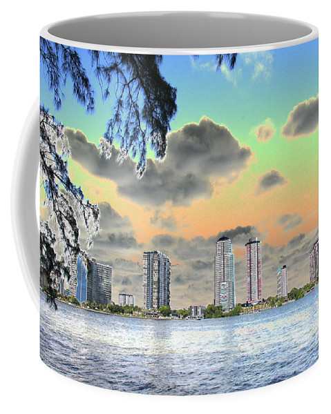 Miami Coffee Mug featuring the photograph Miami Skyline Abstract by Christiane Schulze Art And Photography