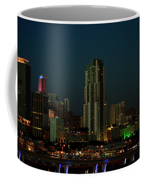 Miami Coffee Mug featuring the photograph Miami Skyline by Srinivasan Venkatarajan