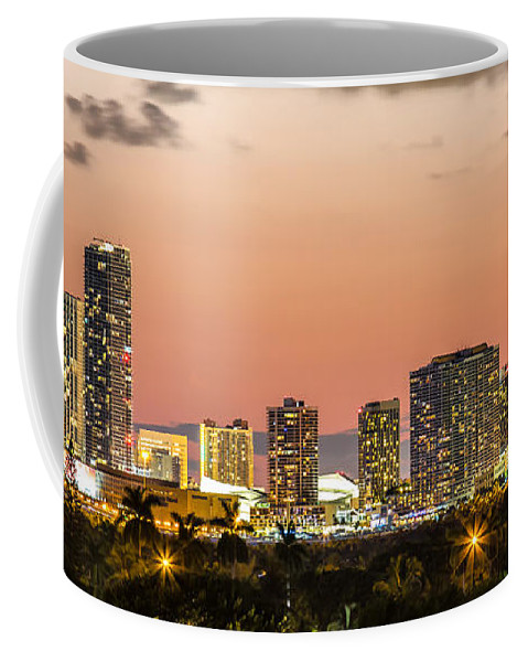 Miami Skyline Coffee Mug featuring the photograph Miami Sunset Skyline by Rene Triay Photography