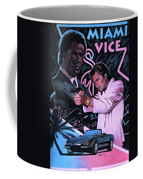 Miami Coffee Mug featuring the painting Miami Vice by A Prints
