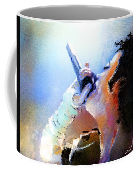 Music Coffee Mug featuring the painting Michael Jackson 06 by Miki De Goodaboom