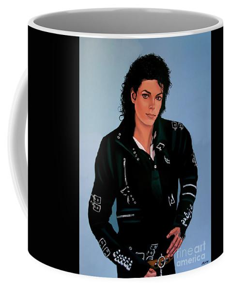 Michael Jackson Coffee Mug featuring the painting Michael Jackson Bad by Paul Meijering