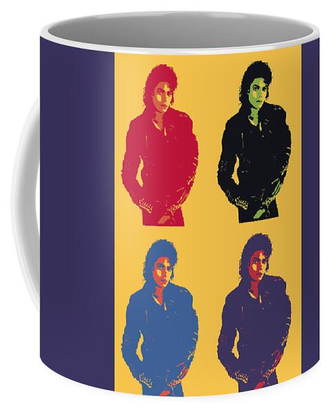 Michael Jackson Pop Art Coffee Mug featuring the digital art Michael Jackson Pop Art Panels by Dan Sproul