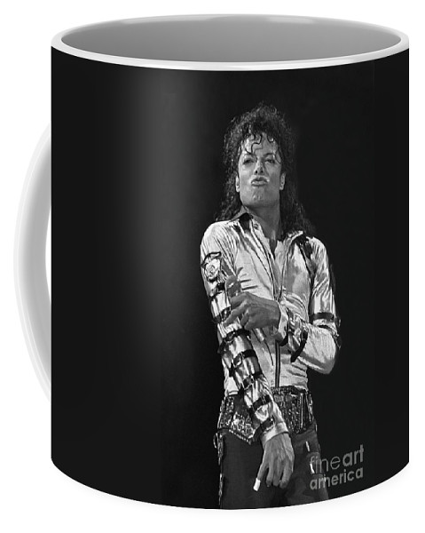 Music Legend Michael Jackson Is Shown Performing On Stage During A Live Concert Appearance Coffee Mug featuring the photograph Michael Jackson - The King of Pop by Concert Photos