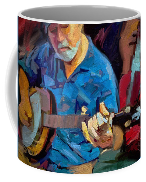 Mike Banjo Music Musician Art Scott Waters Coffee Mug featuring the digital art Michael by Scott Waters
