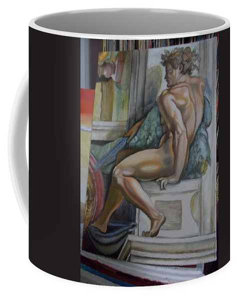 Michelangelo Coffee Mug featuring the painting Michelangelo Study 2 by Amber Whiteman