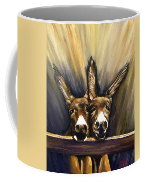 Donkeys Coffee Mug featuring the painting Michelle And Maxine by Charles Sims