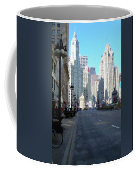 Chicago Coffee Mug featuring the digital art Michigan Ave tall by Anita Burgermeister